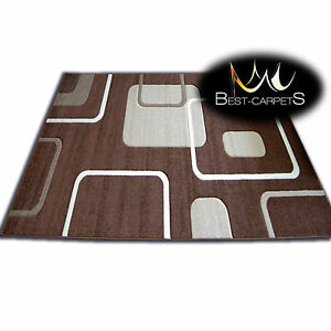 THICK MODERN RUGS PILLY CARPETS ORIGINAL CHEAP BROWN BEIGE GEOMETRIC SQUARES