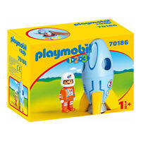 Playmobil 1-2-3 Astronaut With Rocket Building Set 70186 NEW Learning Toys