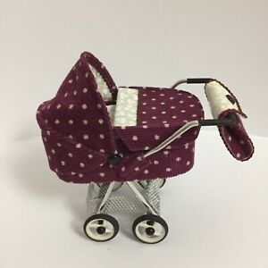 Dollhouse baby carriage and porcelain baby