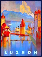 Lucerne Switzerland Luzern European Vintage Travel Advertisement Art Poster