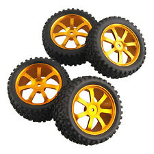 RC 2x Front & 2x Rear Aluminum Wheel Rubber Tires HSP 1:10 Off-Road Buggy S07G1