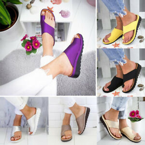 Women Comfy Platform Sandal Shoes PU Leather Bunion Corrector Summer Beach