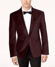 $695 CALVIN KLEIN Mens Slim Fit Sport Coat Red Velvet TUXEDO JACKET BLAZER 42L