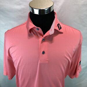 Footjoy Salmon Poly/Spandex Golf Polo Shirt Titleist Arm Badge Patch Medium XXX7