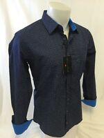 Mens HOUSE of LORDS Designer Woven Dress Shirt NAVY BLUE PATTERN Roar w Class164