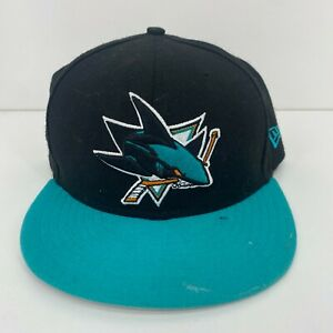 NHL New Era Fitted Embroidered Cap Hat Size 7 5/8 San Jose Sharks Black