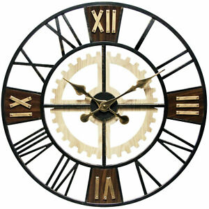 Infinity Instruments Graham Oversize 24 Inch Decorative Wall Clock, Silent Hands