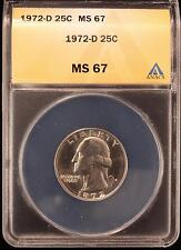 1972-D WASHINGTON QUARTER SUPERB GEM UNC ANACS MS67 US COIN 785