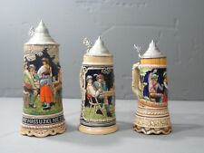 Vintage German Lidded Beer Stein Music Box plays Trink Bruderlein Set (3)