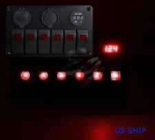 Red S2 6 Gang Car Rocker Switch Panel USB Socket Power Plug Voltmeter Charger