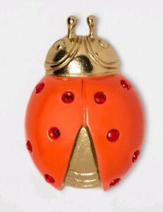 "Opalhouse Rhinestone Ladybug Decorative Metal Figurine Gold And Red 6"" x 1.4"""