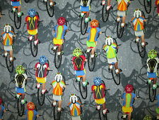 Bicycle Race Cycle Cycling Racing Sports Gray Cotton Fabric BTHY