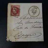 NAPOLÉON N°32 SUR MOITIÉ DE LETTRE COVER GC 2795 PAU -> MADRID ESPAGNE
