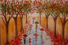 Umbrellas in the Rain  Original  watercolour painting size A3