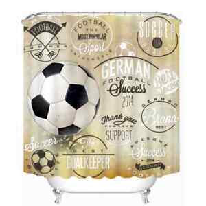 The Popular Football 3D Shower Curtain Polyester Bathroom Decor  Waterproof