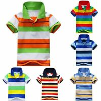 Toddler Baby Kids Boys Girls Short Sleeve Striped Shirts Tee Tops T-shirt 1-7 Y