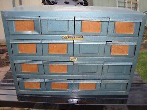 "Vintage Metal ""ROTA CHEST of Draws""16 Draw Storage Cabinet ,Nut/bolts etc"