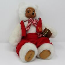 Robert Raikes Bears Santa's Helper Plush Teddy Bear Wood Face & Feet Christmas