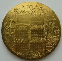 FRANCE 1974 BRONZE ART CALENDAR MEDAL BY MAUVIEL 95MM 354GR