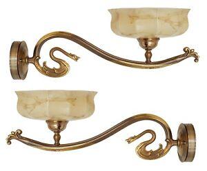 2 x Schwan Jugendstil Wandleuchte Unikat Wandlampe Wandlampen Messing