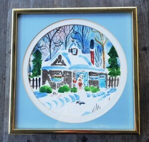 Framed Signed Original Hilda Kaihlanen Watercolor Sauna Finnish-American Artist
