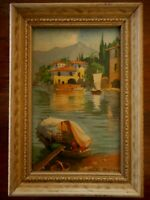 "Boats Mini Vintage Framed Print Country Farmhouse Decor 6.5"" x 4.5"""