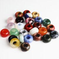 Natural Gemstones Big Hole Rondelle Spacer Charm Beads for European Bracelet Hot