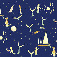 Mermaids Night Moon Narwhale By the yard 42/43 Birch Organic Cotton