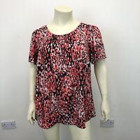 Evans Ladies Red Black White Patterned Short Sleeve Smart Blouse Top UK Size 22