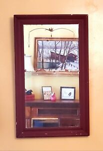 Antique Art Deco Red Wall Mirror Etched Scandinavian Farm House French Country