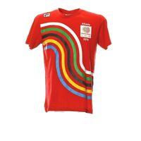 Fila Athlete T-Shirt Herren Gr. M Olympic Print Rot Sport Retro Style