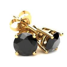 2 кар черный бриллиант шпильки 14k желтое золото серьги