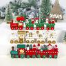 Christmas Wood Train Snowflake Xmas Ornament for Home Garden Santa/bear Decor CR