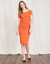 BODEN BNIB Off Shoulder Ruched Dress - Tulip Orange - UK 12 L