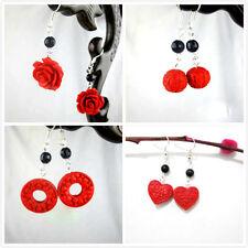 Rojo Laca rosa esfera anillo corazón pendientes de aro diseños diferentes