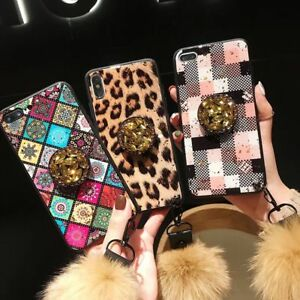 Luxury Bling Diamond HairBall Holder Case Cover for Samsung galaxy S10+ S9 note9