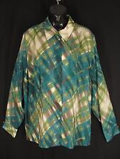 Jones New York Plus Size 22W Blouse Silk Abstract Green Blue Plaid Shirt Sheer