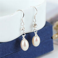 Elegant 925 Sterling Silver Genuine Freshwater Pearl Drop Dangle Earrings Gift