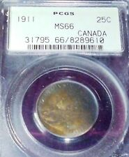 RAINBOW TONED 1911 25 CENTS - PCGS MS 66  - CANADA - POPULATION 11