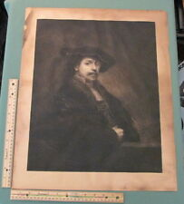 "charles Watner ""Rembrandt Self Portrait"" Rare Etching Signed Print"
