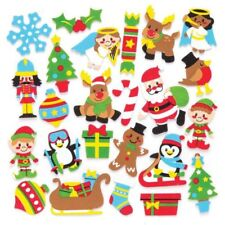 50 FOAM FELT Xmas Stickers MIX KIDS CRAFTS SANTA SNOWMAN STAR GIFT PEEL & STICK