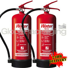 2 x NEW 6 LITRE WATER FIRE EXTINGUISHERS 6L WAREHOUSE OFFICE WORKSHOP *24HRS*