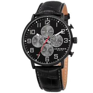Akribos XXIV AK854BK Quartz Chronograph Black Leather Strap Date Mens Watch
