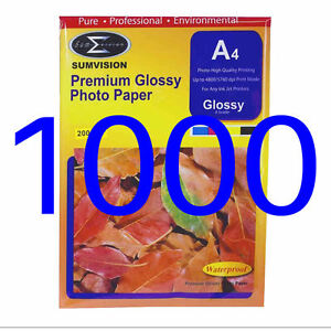 1000 Sheets Pack Photo Paper Sumvision 200gsm A4 Inkjet White Glossy Surface
