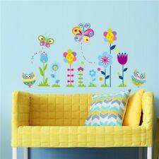 Cute Flowers Owls Butterflies Vinyl Art Wall Stickers Kids Baby Room Decor #HD3