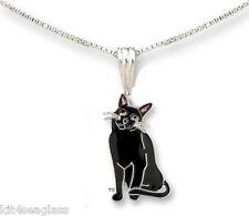 "Zarah Zarlite BLACK KITTY NECKLACE Silver Plated Enamel 18"" Chain - Gift Boxed"