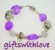 Purple dyed quartz and silver nugget bracelet - FREE ENGRAVING