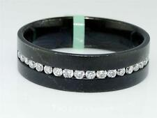 Mens 6 mm Black Rhodium over 18k Gold Genuine Diamond Wedding Band Ring 1/2 Ct