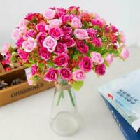 21 Head Artifical Fake Plastic Rose Silk Flowers Wedding Decor Home Bouquet D1S7