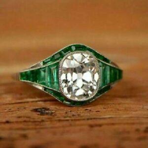 3CT Cushion Diamond & Emerald Antique Art Deco Wedding Ring 14K White Gold Over
